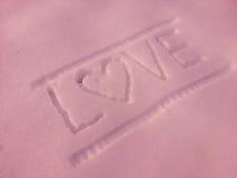 Texto de mensaje en nieve Fotos de archivo libres de regalías