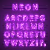 Texto de neón de la bandera Púrpura de neón del color de la ciudad de la fuente, fuente del alfabeto Ilustración del vector ilustración del vector