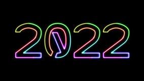 2022 - texto de neón de siete colores que brilla intensamente, luces móviles, en fondo transparente libre illustration