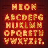 Texto de néon da fonte Sinal da lâmpada Alfabeto Ilustração do vetor Imagens de Stock