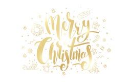 Texto de oro de la Feliz Navidad en el fondo blanco stock de ilustración
