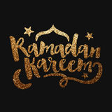 Texto de oro para la celebración de Ramadan Kareem Foto de archivo