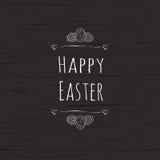 Texto de Pascua y huevos de Pascua felices para la plantilla de la tarjeta de felicitación del día de fiesta de Pascha Ilustració stock de ilustración