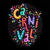 Texto de rotulação escrito à mão do vetor colorido brilhante Evento popular em Brasil Título do carnaval com elementos coloridos  ilustração royalty free