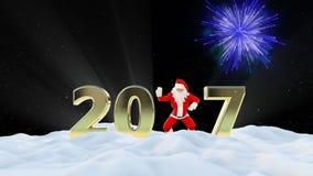 Texto de Santa Claus Dancing 2017, dança 5, paisagem do inverno e fogos-de-artifício video estoque