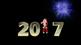 Texto de Santa Claus Dancing 2017, danza 1, exhibición de los fuegos artificiales almacen de metraje de vídeo
