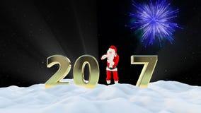 Texto de Santa Claus Dancing 2017, danza 1, paisaje del invierno y fuegos artificiales almacen de video