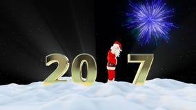 Texto de Santa Claus Dancing 2017, danza 3, paisaje del invierno y fuegos artificiales almacen de metraje de vídeo