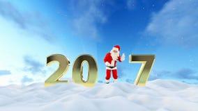 Texto de Santa Claus Dancing 2017, danza 1, paisaje hermoso del invierno almacen de metraje de vídeo