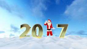 Texto de Santa Claus Dancing 2017, danza 2, paisaje hermoso del invierno metrajes