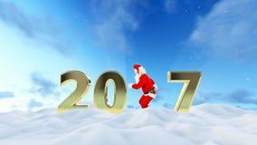 Texto de Santa Claus Dancing 2017, danza 4, paisaje hermoso del invierno metrajes