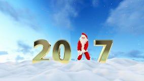 Texto de Santa Claus Dancing 2017, danza 8, paisaje hermoso del invierno metrajes