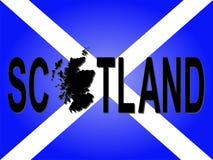 Texto de Scotland com mapa Fotos de Stock Royalty Free