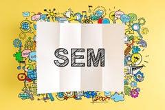 Texto de SEM com ilustrações coloridas fotografia de stock