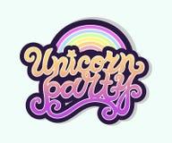 Texto de Unicorn Party como logotipo, insignia, remiendo, icono aislado en fondo Stock de ilustración