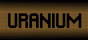 Texto de uranio en symbolhttps://www amonestador radiactivo dreamstime COM/ejemplo de los perfiles Fotografía de archivo