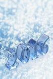 Texto de vidro do Natal do ano 2016 novo na neve Foto de Stock