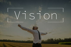 Texto de Vision sobre hombre de negocios con los brazos abiertos foto de archivo
