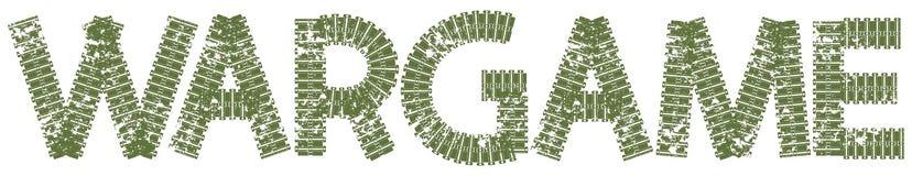 Texto de Wargame com as letras feitas de trilhas do tanque Fotografia de Stock