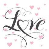 Texto decorativo del amor con el corazón Letras de amor caligráficas Fotografía de archivo