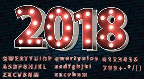 Texto decorativo 2018 en carpa iluminada Fotografía de archivo
