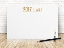 texto del año de 2017 planes en el cartel del Libro Blanco con el lápiz negro y Imágenes de archivo libres de regalías