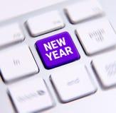 Texto del Año Nuevo en el teclado Fotos de archivo libres de regalías