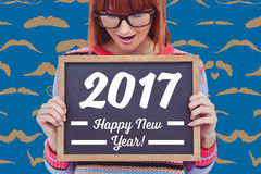 Texto del Año Nuevo en la pizarra Imagenes de archivo