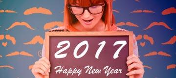 Texto del Año Nuevo en la pizarra Imagen de archivo libre de regalías
