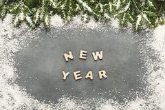 Texto del Año Nuevo, fondo de la decoración Fotografía de archivo libre de regalías