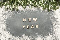 Texto del Año Nuevo, fondo de la decoración Foto de archivo libre de regalías
