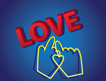 texto del amor 3d con el cursor Fotos de archivo libres de regalías