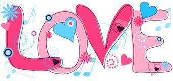 Texto del amor en color de rosa y azul Foto de archivo