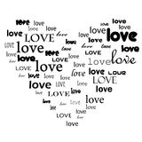 Texto del amor en dimensión de una variable del corazón Imágenes de archivo libres de regalías