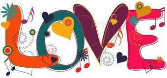Texto del amor en el Hippie Brights stock de ilustración