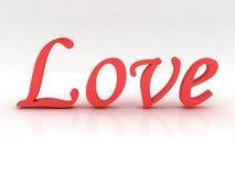 Texto del amor en rojo Fotos de archivo