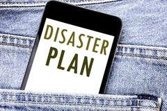 Texto del aviso de la escritura que muestra plan del desastre Concepto del negocio para el teléfono móvil escrito recuperación de Imagenes de archivo