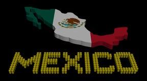 Texto del barril de México con el ejemplo de la bandera del mapa stock de ilustración