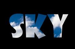 Texto del cielo Imagen de archivo libre de regalías