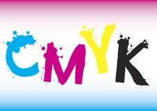 Texto del color de CMYK Imagen de archivo libre de regalías