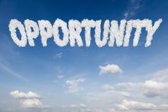 Texto del concepto de la oportunidad en nubes Imágenes de archivo libres de regalías