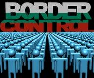 Texto del control de fronteras con la bandera búlgara y muchedumbre de ejemplo de la gente stock de ilustración