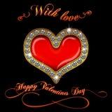 Texto del corazón del diamante del día de tarjetas del día de San Valentín Imágenes de archivo libres de regalías