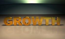 Texto del crecimiento 3D en oro Fotografía de archivo libre de regalías