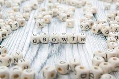 Texto del crecimiento en los cubos ABC de madera Imágenes de archivo libres de regalías