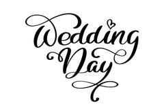 Texto del día de boda en el fondo blanco Ejemplo de las letras de la caligrafía ilustración del vector