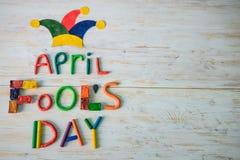 Texto del día del ` de April Fools hecho con plasticine Imágenes de archivo libres de regalías