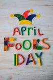 Texto del día del ` de April Fools hecho con plasticine Foto de archivo