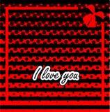 Texto del día de tarjeta del día de San Valentín te amo en extracto Foto de archivo
