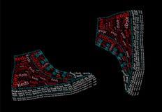 Texto del dibujo Zapatillas de deporte Stock de ilustración